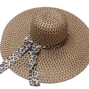 Gorgeous Brown Leopard Print Wide Brim Sun Hat